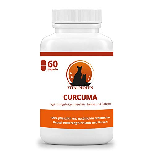 Vitalpfoten Curcuma Kapseln mit Curcumin und Piperin für Hunde und Katzen 60 Kapseln, Ergänzungsfuttermittel, sanfte wirkungsvolle Dosierung, Herstellung in Deutschland, höchste Reinheit und Qualität - Antioxidans Pflanzlichen Kapseln