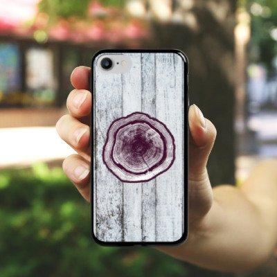 Apple iPhone X Silikon Hülle Case Schutzhülle Stamm Holz Look Baumstamm Hard Case schwarz