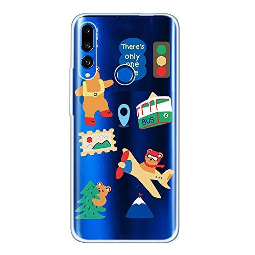 Miagon Klar Hülle für Huawei P Smart Z,Kreativ Silikon Case Ultra Schlank Transparente Weich Handyhülle Anti-Kratzer Stoßfest Schutzhülle,Flugzeug Bär