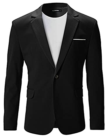 FLATSEVEN Mens Slim Fit Casual Premium Blazer Jacket Black, L