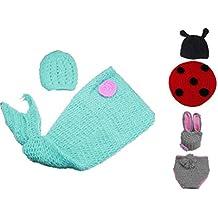 EOZY 3 Conjuntos Gorro Y Pantalón Bebé Niños Fotografía 3-6 Meses Diseño De Conejo Pez Y Mariquita