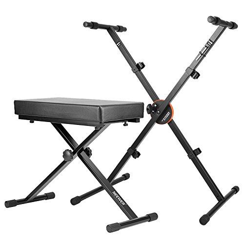 Neewer X-Typ Keyboardbank und Ständer Kit - Abnehmbare verstellbare gepolsterte Keyboard Bank und faltbare Keyboard Ständer mit Höhenregelschloss und rutschfeste Gummi Caps, Solid Metal (Schwarz)
