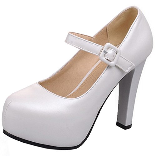 TAOFFEN Damen Elegant Closed Toe Pumps Ankle Strap Block High Heel Schuhe White