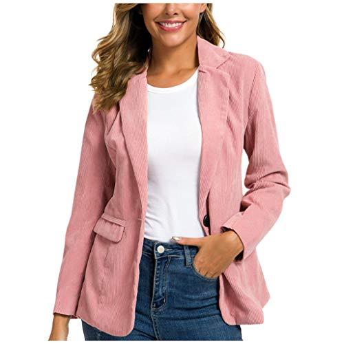 DNOQN Frauen Winter Cordanzug Jacke Damen Abdrehen Halsband Mantel Outwear Strickjacke Rosa M
