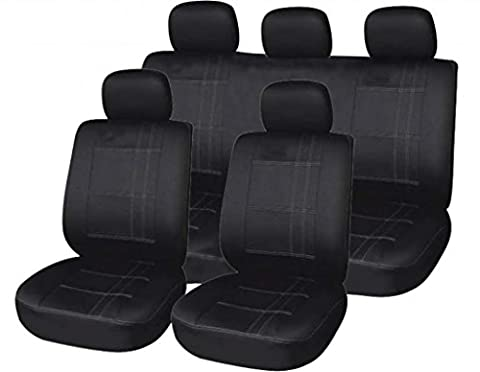 XtremeAuto Universal Fit Black With Pin Strip Styling Car Seat Covers