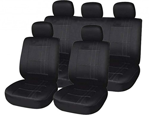 xtremeauto 5057-Type17 Universal Fit Car Seat Covers, with Pin Strip, Sticker Included, Black