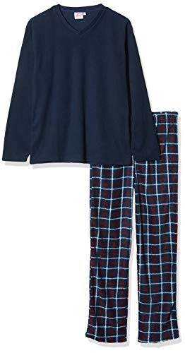 Herren Harvey James Thermo Top, Polar Fleece Hose Warm Pyjama Sets - Marine-Check, XL