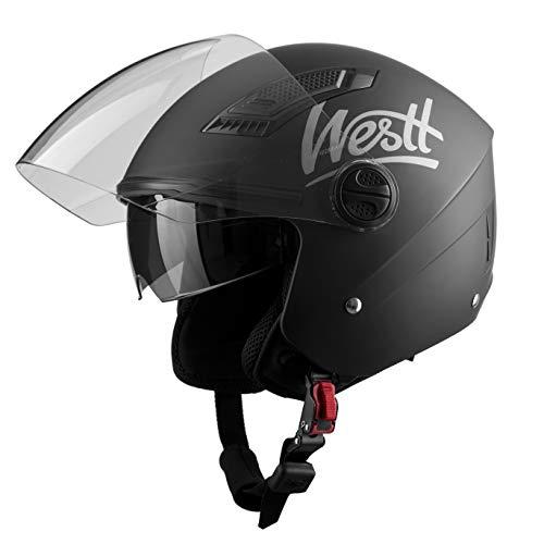 Westt Jet Casco De Moto Abierto Negro Mate - Motocicleta Scooter - Certificado ECE