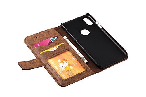 Coque iPhone X, Eouine Premium Étui Housse Portefeuille, Retro Etui de Protection en Cuir, Flip Bumper Case Cover Wallet Coque pour Apple iPhone X Edition (2017) 5.8-inch Smartphone, Avec Stand, Ferme Marron foncé