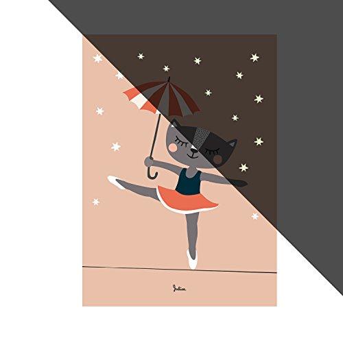 JulicaDesign Poster Kinderzimmer   Sterne Nachtleuchtend   Ballerina-Katze   Wand-Bild   Wand-Deko für Kinder und Baby-Zimmer   Größe 50 X 70 in Rosa