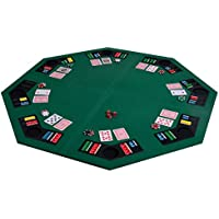 COSTWAY 1.2M | 48 Inches Folding Poker Table Top with Chip Trays and Drink Holders, Available for 8 Players, Black Bag for Easy Carry, Foldable for Space Saving, Upgrade Lint Surface & PVC Back