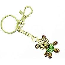 Verde y cristal transparente chapado en oro de oso corazón bolso de mano llavero/encanto