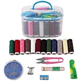 WIDEWINGS Double Layer Portable Travel Sewing Kits Box with Color Needle Threads Scissor pin Hand Work Sewing Box Handwork Accessories