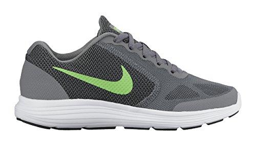 Nike  Revolution 3 Boys Jr, Chaussures de Running Compétition garçon Grau / Grün / Weiß / Schwarz (Cool Grey / Vltg Grün-Weiß-Schwarz)