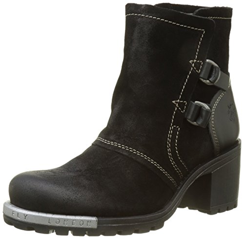 FLY London Damen Lory048fly Stiefel, Schwarz (Black), 39 EU (Side Stiefel Black Zip)