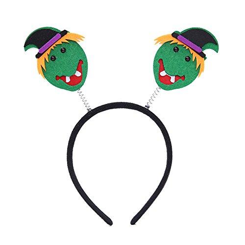 JenK Cing Halloween Party Kürbis Spinnen Requisiten Stirnbänder Anzieh Accessoires Blume Mesh Bänder Federn einem Stirnband Einem Geteilten Clip Cocktail Tea Headwear für Mädchen Damen(Green)