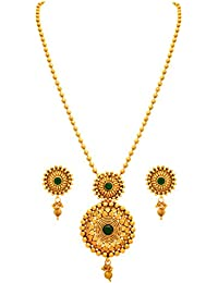 JFL -Traditional Ethnic One Gram Gold Plated Stone Designer Gorgeous Pendant Set With Gold Beaded Chain For Women.