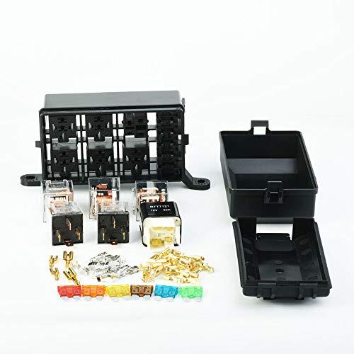 Auto Sicherung und Relais Box DC12V 24V 6 Relais Block 5way für Gondel Kofferraum Versicherung vollen Satz (mit 5 Stück Relais 24V 40A)