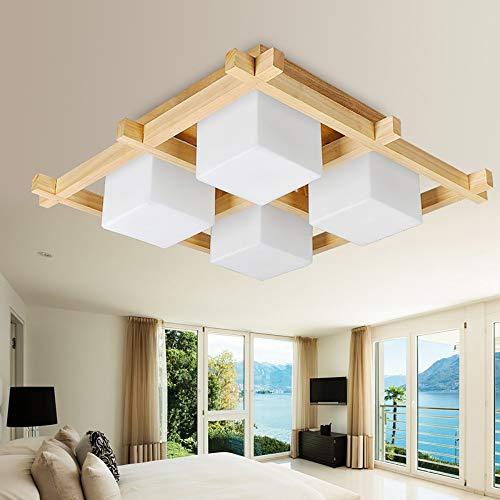 AmzGxp Eiche + Glas Modern Minimalistisch Kreativ LED Gelb Licht Schlafzimmer Wohnzimmer Esszimmer Arbeitszimmer Kronleuchter/Deckenleuchte/Lampe kreativ -