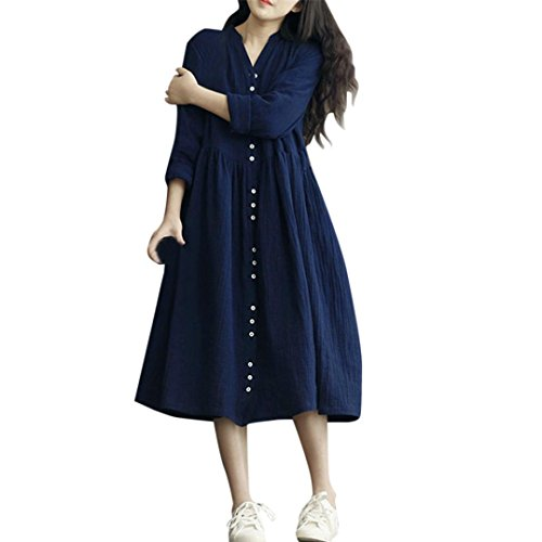 toamen Kleid Langarm Frauen lose Kleid Lange Marineblau Knopf Farben Solide (Kit Komplette Kleid)