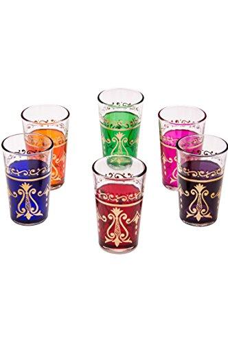 Lot de 6 verres à thé café coloré marocain Arab triés en six couleurs | verre de thé turc en style oriental | 6 Photophore en verre comme décoration marocaine dans votre chambre ou maison
