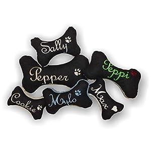 Hunde Spielzeug XXS XS S M L XL XXL Kissen Jeans Knochen persönliches Geschenk Hundeknochen Quietscher schwarz Name Wunschname bestickt Hundekissen personalisiert Unikat