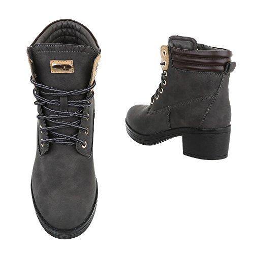 Chaussures Pour Femmes Bottines À Talon Carré Bottines Avec Dentelle Ital-design Grau