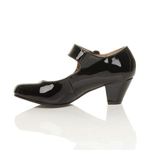 Femme talon moyen large babies cuir doublé confort escarpin chaussure pointure Noir verni
