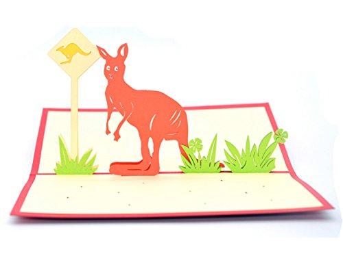 Medigy 3D POP UP Grußkarte Handgemacht Segen Papier Klappkarten Business Geschenkkarte Glückwunschkarten,Känguru