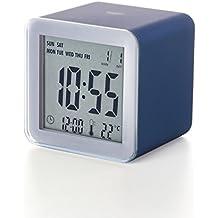 Lexon LR103PB Cube - Reloj despertador (pantalla LCD), color azul