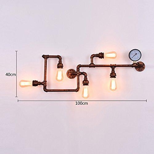 INTASTE Illuminazione a parete Lampada da parete del tubo LOFT Vintage Economia creativa Vento Aisle (2 Ferro Loft)