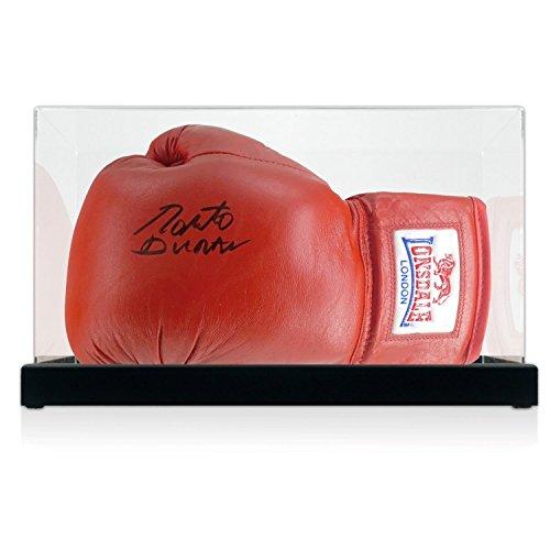 Roberto Duran signierte Red Everlast Boxhandschuh in Vitrine