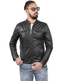 BARESKIN Men's Band Collar front zipper pockets Black Leather Jacket
