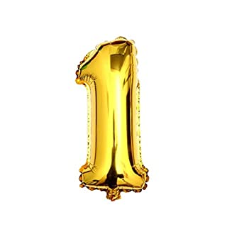 ASTrade Golden Color Numbers 0-9 Balloons For Wedding Activities Birthday Party Decor