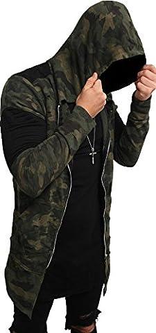 Camouflage Oversize Designer Sweat Jacke Cardigan Hoody Pullover Shirt Herren Hoodie Longsleeve m NEU Kapuzenpullover long Sweatjacke skater hip hop Sweatshirt Pulli longshirt body dope swag deep neck (XL, dark camouflage⁴ - mit