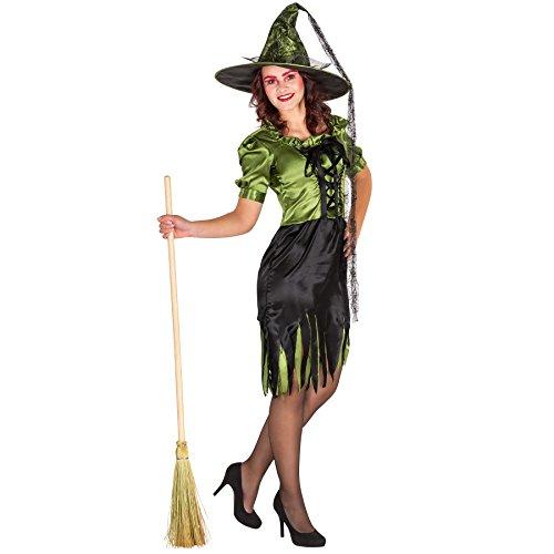 TecTake dressforfun Sexy Hexen Glamour Frauenkostüm mit Korsagen-Look inkl. glänzendem Hexenhut (S | Nr. 300086) (Erwachsene Hexen-kostüme Für)