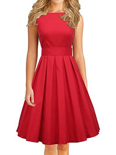 LUOUSE Damen 50s Retro vintage Bubble Skirt Rockabilly Swing Evening Kleid,Red,M (Bubble Skirt)