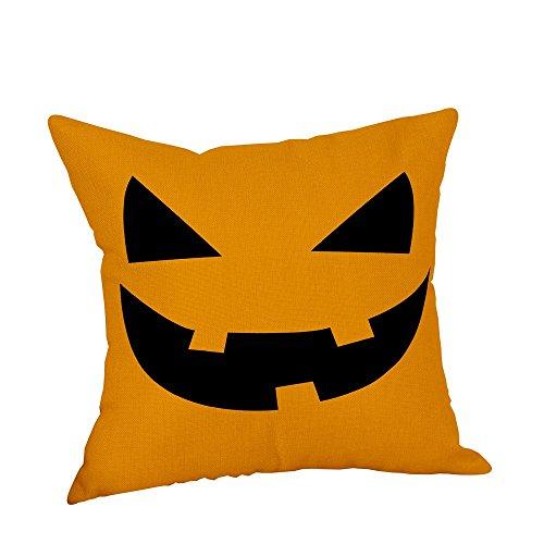 Ericcay Heißer Halloween Party Dekoration Kissenbezüge Leinen Sofa Kürbis Geister Unikat Kissenbezug Home Decor 18 X18 (Mehrfarbig D 18 X18 (Approx 45Cm*45Cm)) (Color : Colour, Size : - Party Stadt Hunde Kostüm