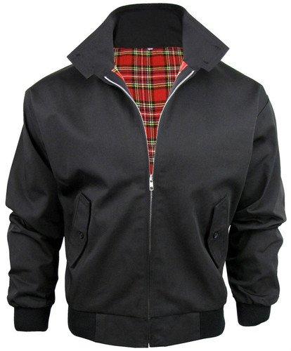 Harrington - Bomber da uomo, trendy, in stile vintage retrò anni '70, ideale per andare in moto, nero (nero), M