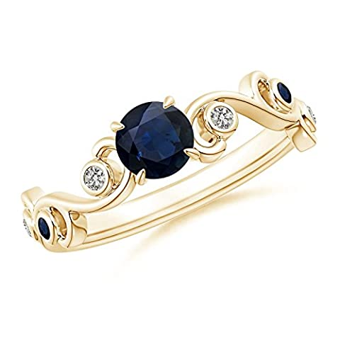 Blue Sapphire and Diamond Ivy Scroll Ring in 14K Yellow Gold (5mm Blue Sapphire)
