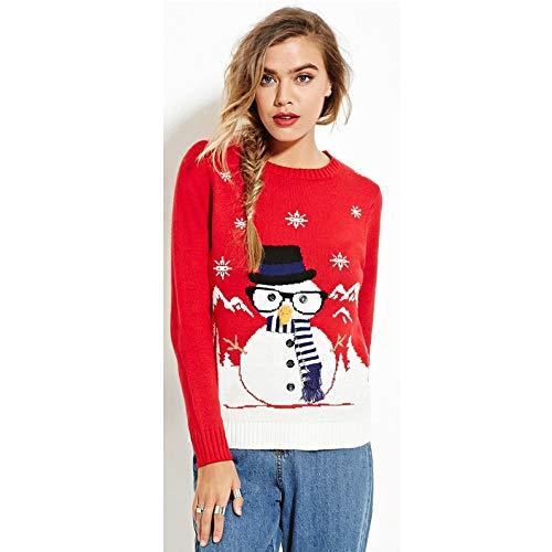 Yunfeng weihnachtsmann kostüm Damen Pailletten-Alphabet Runde Hals Rollkragen Pullover Langarm-Strickwaren Weihnachten Mode tragen Kostüm Erwachsene Weihnachtsfeier Cosplay ()
