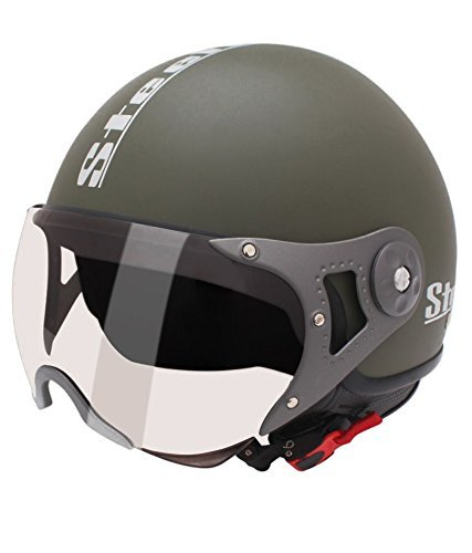 Steelbird SB 27 Style Open Face Helmet (Matt Green, L)