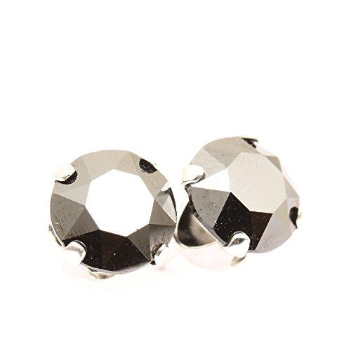 pewterhooter 925 Sterling Silber Ohrstecker Ohrringe handgefertigt mit Jet Hematite Kristall aus SWAROVSKI®.