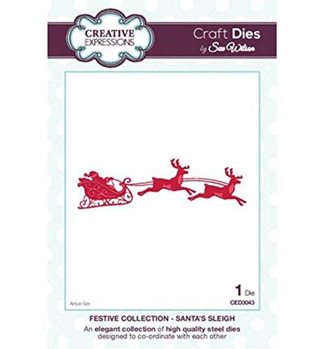 """Creative Expressions Craft Die Stanz- und Prägeschablone CED3043, """"Festive Collection - Santa's Sleigh"""" by Sue Wilson (Nikolaus mit Schlitten und Rentieren), Schablonengröße ca. 2,8 cm x 10,0 cm"""