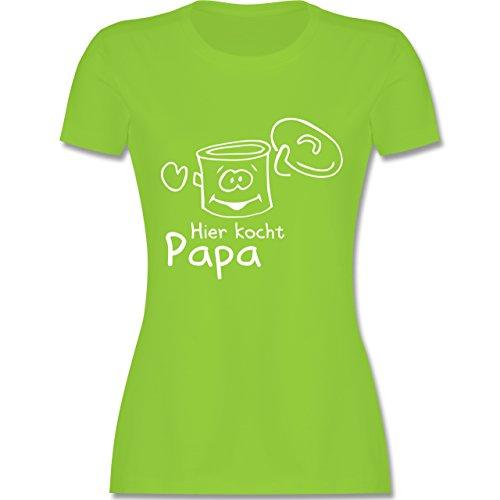 Küche - Hier kocht Papa - tailliertes Premium T-Shirt mit Rundhalsausschnitt  für Damen Hellgrün