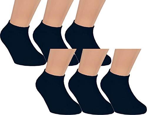 Vitasox 21161 Kinder Jungen Mädchen Sneaker Socken Sneakersocken Kindersocken Baumwolle einfarbig schwarz 6er Pack 31/34 - Nahtlose Schwarz Socken Jungen
