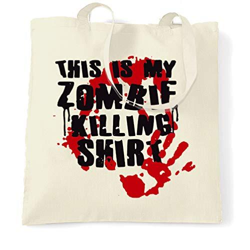 Tim And Ted Dieses ist mein Zombie-Tötungs Tragetasche Halloween Slogan Natural One Size