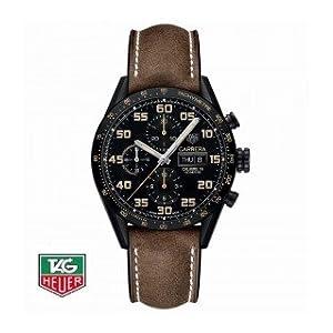 Orologio Tag Heuer Carrera CV2A84.FC6394 Automatico Titanio Quandrante Nero Cinturino Pelle
