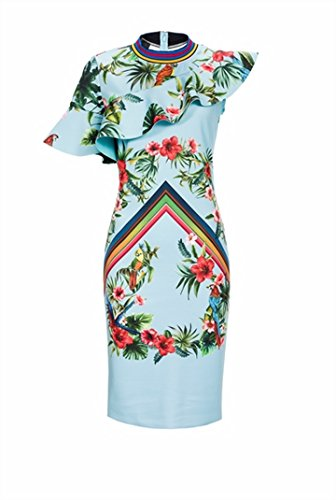 Robe Femme PINKO RIMINI Fiorato Corto Printemps Été 2017 Azur