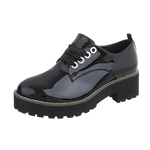 Ital-Design Schnürer Damen-Schuhe Schnürer Blockabsatz Schnürer Schnürsenkel Halbschuhe Schwarz, Gr 37, 2017-11-